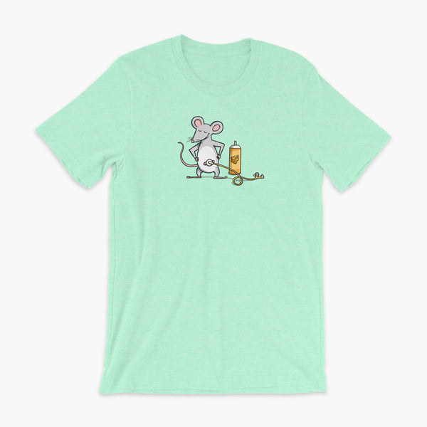 A mouse with a Mic-Key button and a g-tube extension confidently standing in front of a bottle of cheese or whiz with cheese in the g-tube on a heather mint adult t-shirt