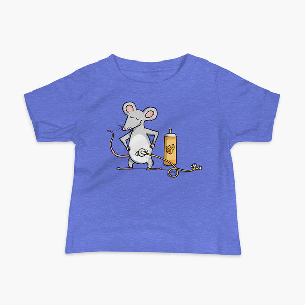 A mouse with a Mic-Key button and a g-tube extension confidently standing in front of a bottle of cheese or whiz with cheese in the g-tube on a blue infant t-shirt