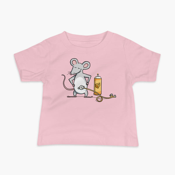 A mouse with a Mic-Key button and a g-tube extension confidently standing in front of a bottle of cheese or whiz with cheese in the g-tube on a pink infant t-shirt