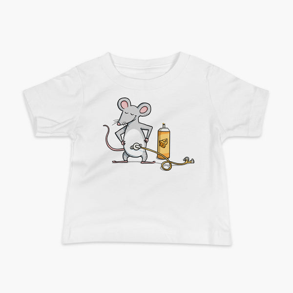 A mouse with a Mic-Key button and a g-tube extension confidently standing in front of a bottle of cheese or whiz with cheese in the g-tube on a white infant t-shirt