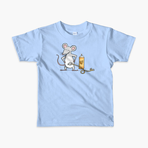 A mouse with a Mic-Key button and a g-tube extension confidently standing in front of a bottle of cheese or whiz with cheese in the g-tube on a blue kids t-shirt