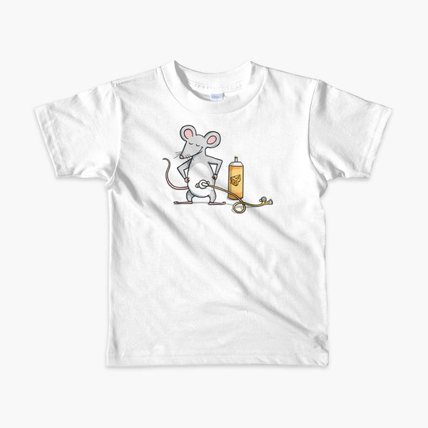 A mouse with a Mic-Key button and a g-tube extension confidently standing in front of a bottle of cheese or whiz with cheese in the g-tube on a white kids t-shirt