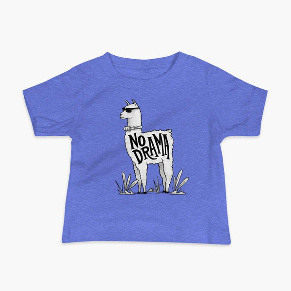 A llama that has a trach or tracheostomy with an HME and the text No Drama written on its side. It is wearing sunglasses and is super chill for the stoma life on a columbia blue infant t-shirt.