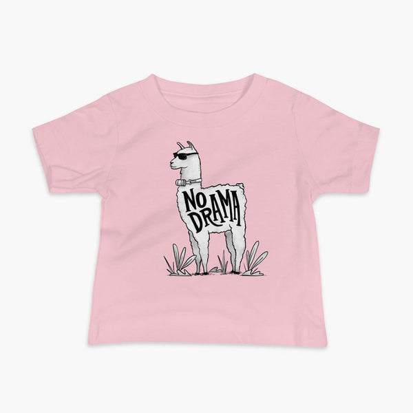 A llama that has a trach or tracheostomy with an HME and the text No Drama written on its side. It is wearing sunglasses and is super chill for the stoma life on a pink infant t-shirt.