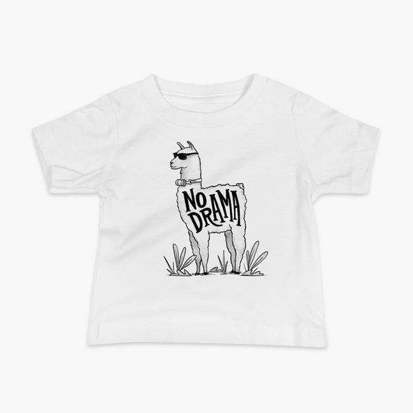 A llama that has a trach or tracheostomy with an HME and the text No Drama written on its side. It is wearing sunglasses and is super chill for the stoma life on a white infant t-shirt.