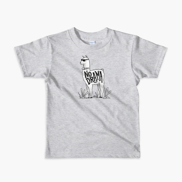 A llama that has a trach or tracheostomy with an HME and the text No Drama written on its side. It is wearing sunglasses and is super chill for the stoma life on a heather grey kids t-shirt.