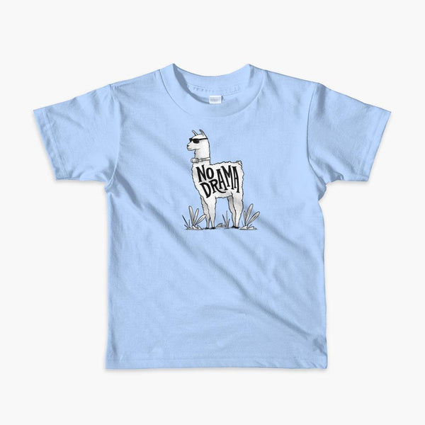 A llama that has a trach or tracheostomy with an HME and the text No Drama written on its side. It is wearing sunglasses and is super chill for the stoma life on a blue kids t-shirt.