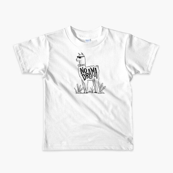A llama that has a trach or tracheostomy with an HME and the text No Drama written on its side. It is wearing sunglasses and is super chill for the stoma life on a white kids t-shirt.