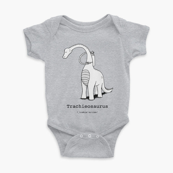 Trachieosaurus infant onesie black and white dinosaur with oxygen tank and a trach or tracheostomy heather grey