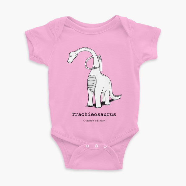 Trachieosaurus infant onesie black and white dinosaur with oxygen tank and a trach or tracheostomy pink