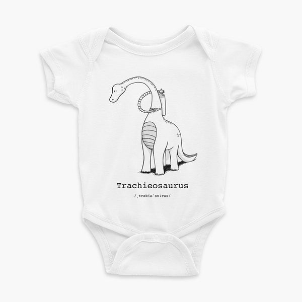 Trachieosaurus infant onesie black and white dinosaur with oxygen tank and a trach or tracheostomy white