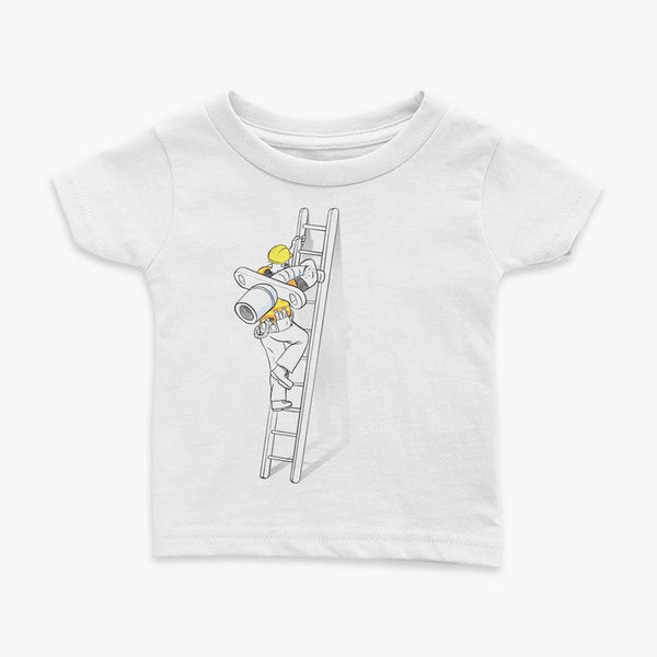 tracheostomy change construction going up the ladder with a trach worker infant t-shirt for living trach life by StomaStoma apparel