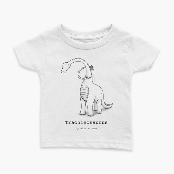 Trachieosaurus infant t-shirt black and white dinosaur with oxygen tank and tracheostomy