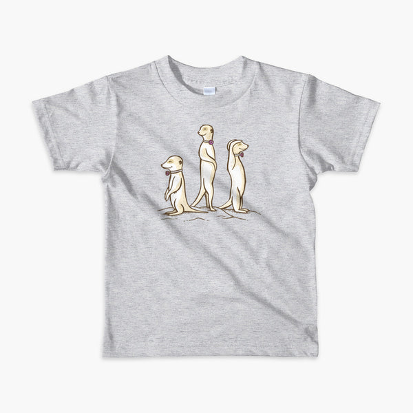 Three Passy Meerkats looking around and smiling with Passy Muir Valves and trach tracheostomy kids heather grey t-shirt for stoma life