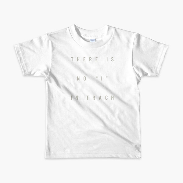 "text there is no ""i"" in trach on a black kids t-shirt"