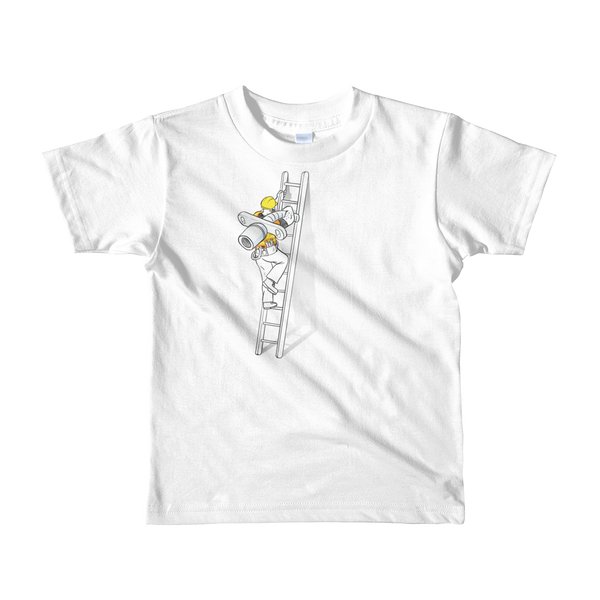 a construction worker climbing a ladder with a trach up the center of the shirt to do a trach change for a tracheostomy stoma white kids t-shirt