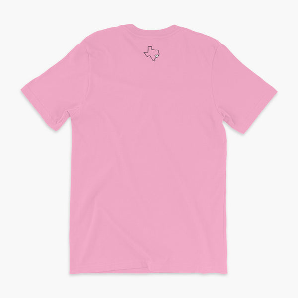 StomaStoma Trach Trachieosaurus With Oxygen Adult T-shirt Texas Childrens Hospital State Outline with a heart on Houston Back Pink