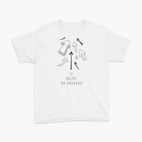 It helps me breath black arrows pointing to tracheostomy site and stoma white youth t-shirt for living the tubie and trach life by StomaStoma apparel