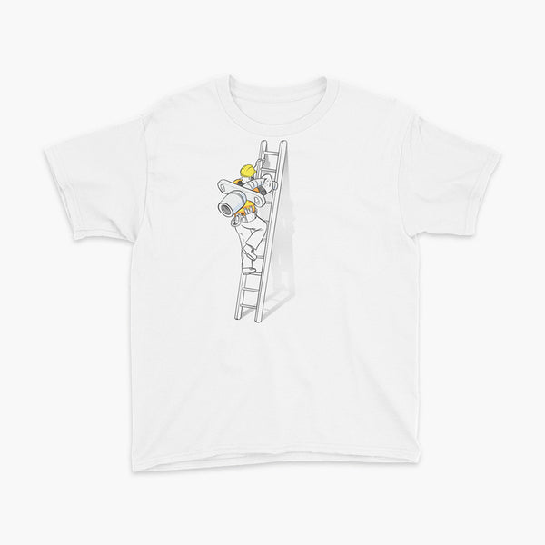 tracheostomy change construction going up the ladder with a trach worker youth t-shirt for living trach life by StomaStoma apparel