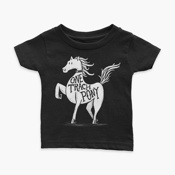 A horse or one trach pony on a blackt-shirt with a tracheostomy for the StomaStoma trach life infant apparel