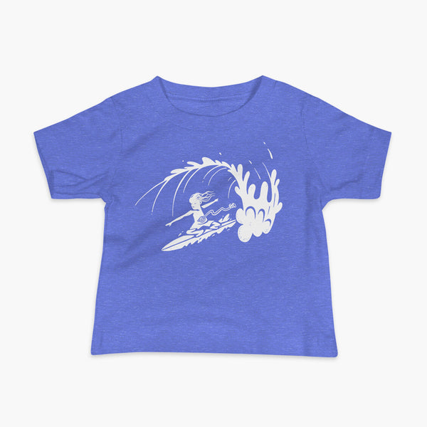 A white block print style illustration of a young kid surfing in a wave, getting tubed or barreled and he has a g-tube flowing from his stomach as he flies down the line on a columbia heather blue infant t-shirt