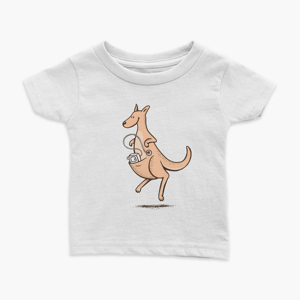 A happy orange tube kangaroo hops along with her Joey feeding pump and feeding tube sitting in her pouch with a g-tube on a white infant t-shirt