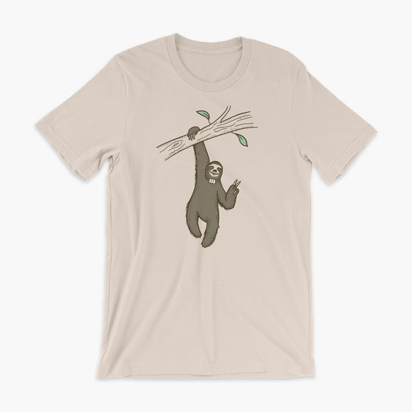 A lazy sloth just hangs from a tree flashing a peace sign with a trach or tracheostomy and an HME for humidification on a soft creme adult t-shirt