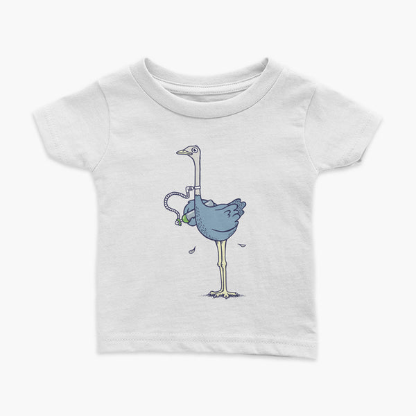 An ostrich bird or oxtrich has a trach or tracheostomy and is carrying oxygen o2 tank standing on a white infant t-shirt