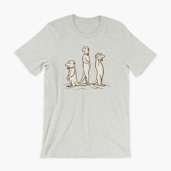 Three Passy Meerkats looking around and smiling with Passy Muir Valves and trach tracheostomy heather ash adult t-shirt for stoma life