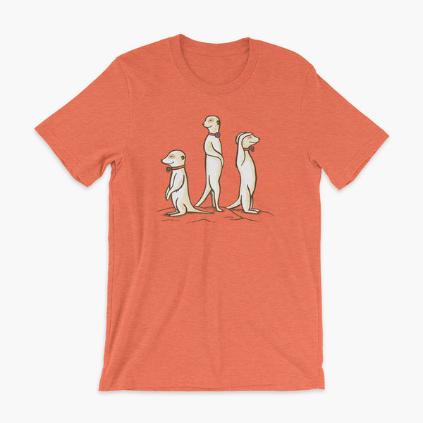 Three Passy Meerkats looking around and smiling with Passy Muir Valves and trach tracheostomy heather orange adult t-shirt for stoma life
