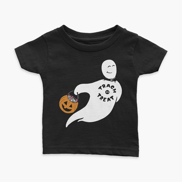 A white ghost with a trach wearing a trach or treat shirt holding a halloween bucket of trachs and saline on a black infant t-shirt