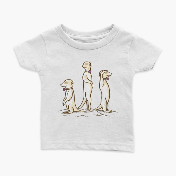 Three Passy Meerkats looking around and smiling with Passy Muir Valves and trach tracheostomy white infant t-shirt for stoma life