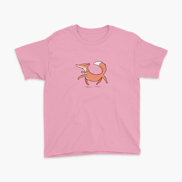 A confident orange and white fox with a trach or tracheostomy an HME for humidification trots on a pink youth t-shirt