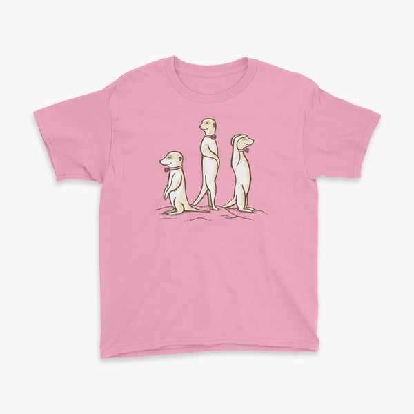 Three Passy Meerkats looking around and smiling with Passy Muir Valves and trach tracheostomy pink youth t-shirt for stoma life