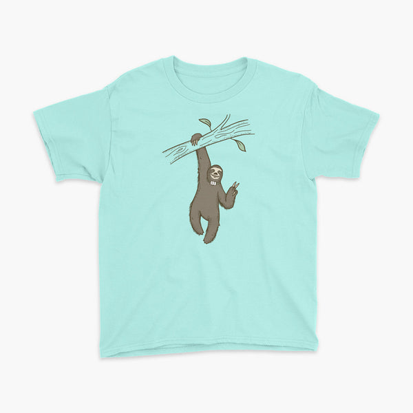 A lazy sloth just hangs from a tree flashing a peace sign with a trach or tracheostomy and an HME for humidification on a teal ice youth t-shirt