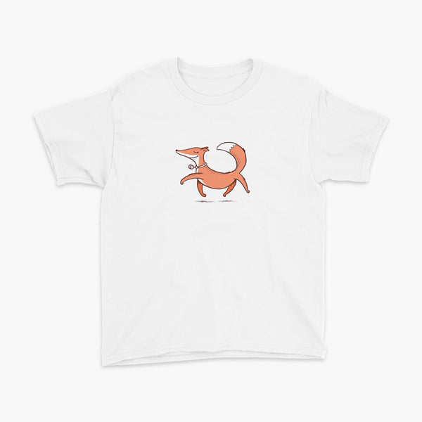 A confident orange and white fox with a trach or tracheostomy an HME for humidification trots on a white youth t-shirt