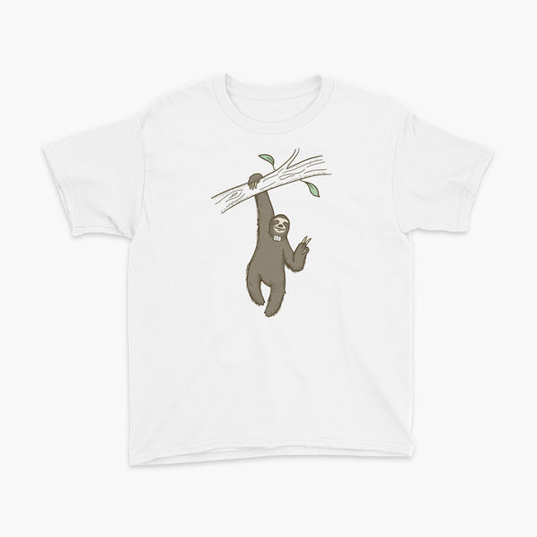 A lazy sloth just hangs from a tree flashing a peace sign with a trach or tracheostomy and an HME for humidification on a white youth t-shirt