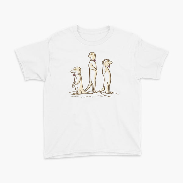 Three Passy Meerkats looking around and smiling with Passy Muir Valves and trach tracheostomy white youth t-shirt for stoma life