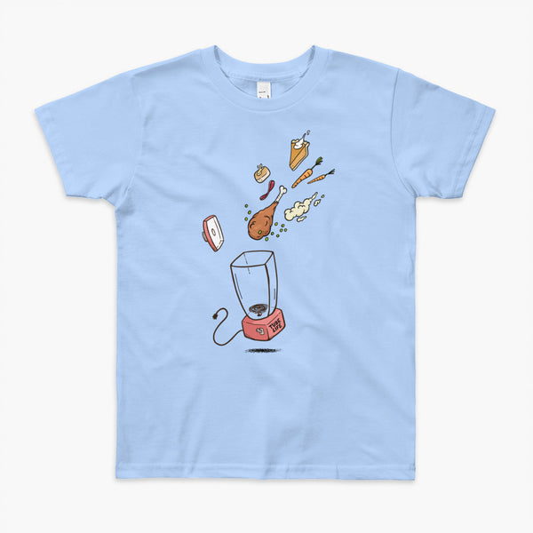 A Thanksgiving dinner getting thrown into a blender - a turkey leg, mashed potatoes, carrots, pumpkin pie and bread on a blue youth t-shirt. A meal for those who are living the Tube Life with a Stoma.