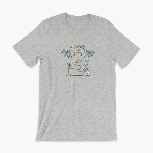 An elephant with a trach or tracheostomy and connected to an oxygen tank sits in a hammock between two palm trees with his nose around a drink just trachin' it easy and relaxing on a athletic heather adult t-shirt