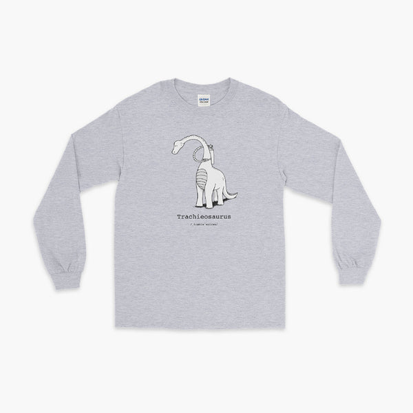 Trachieosaurus a dinosaur with a trach or tracheostomy and oxygen for living the trach life with a tracheostomy by StomaStoma on a heather grey adult long sleeve t-shirt