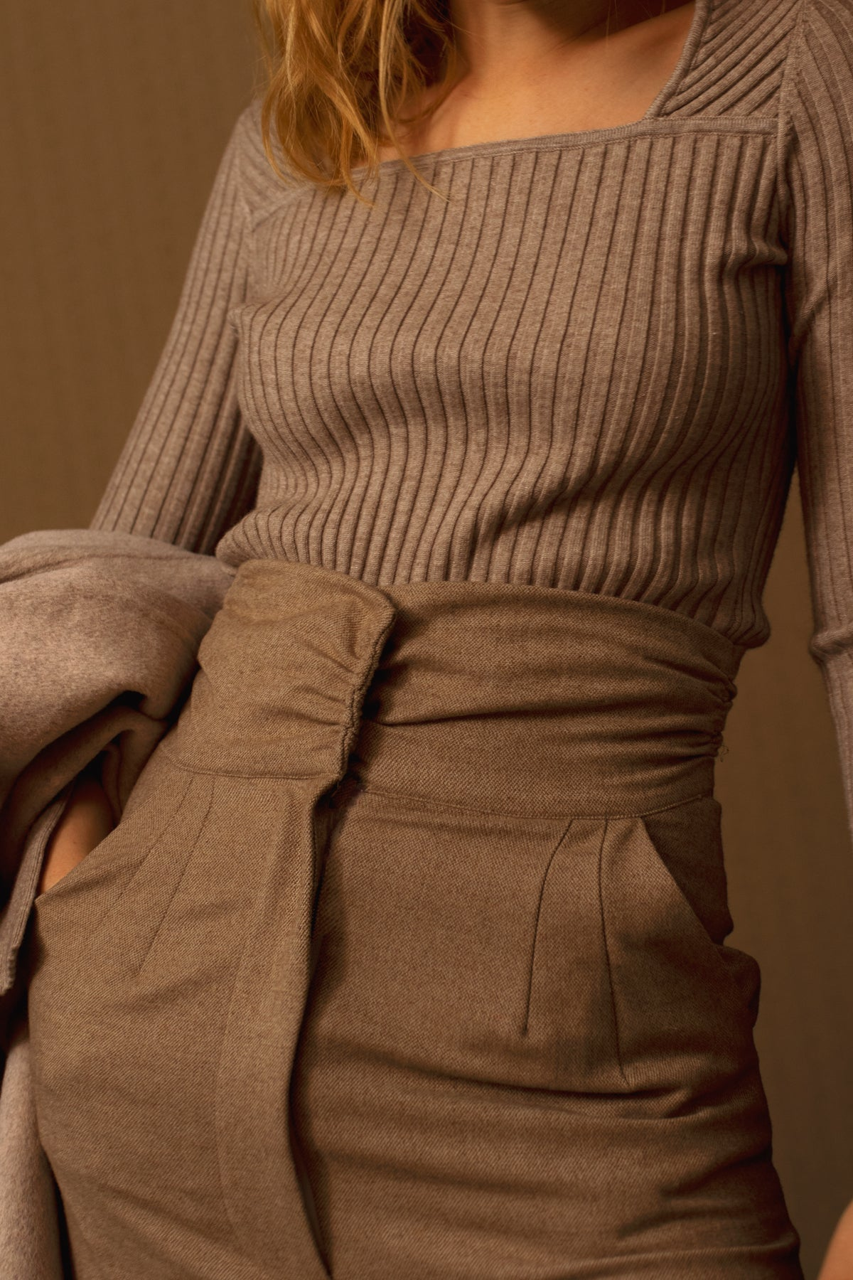 Mona Square Neck Jumper in Latte