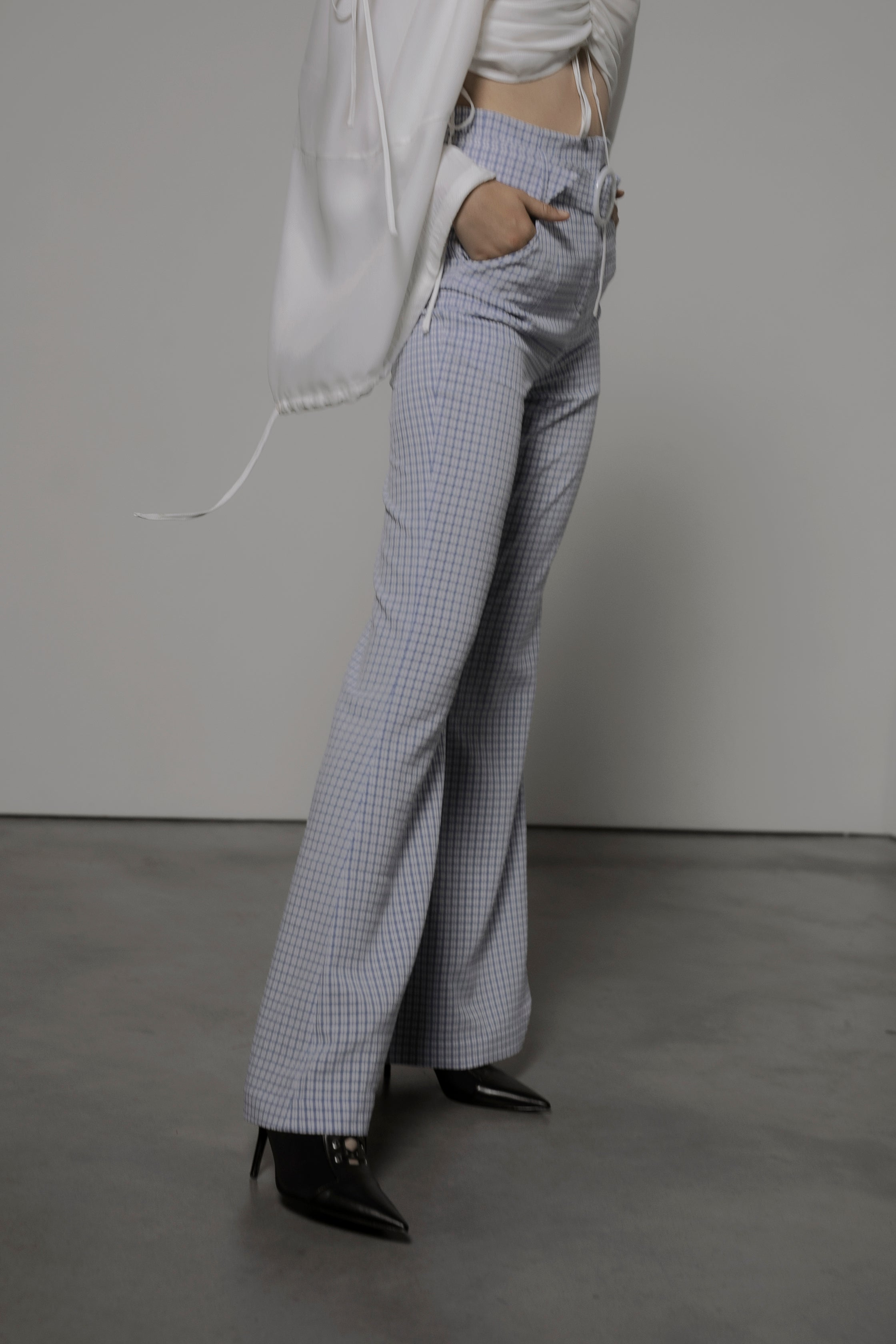 Patty Flare Trousers in Blue Gingham