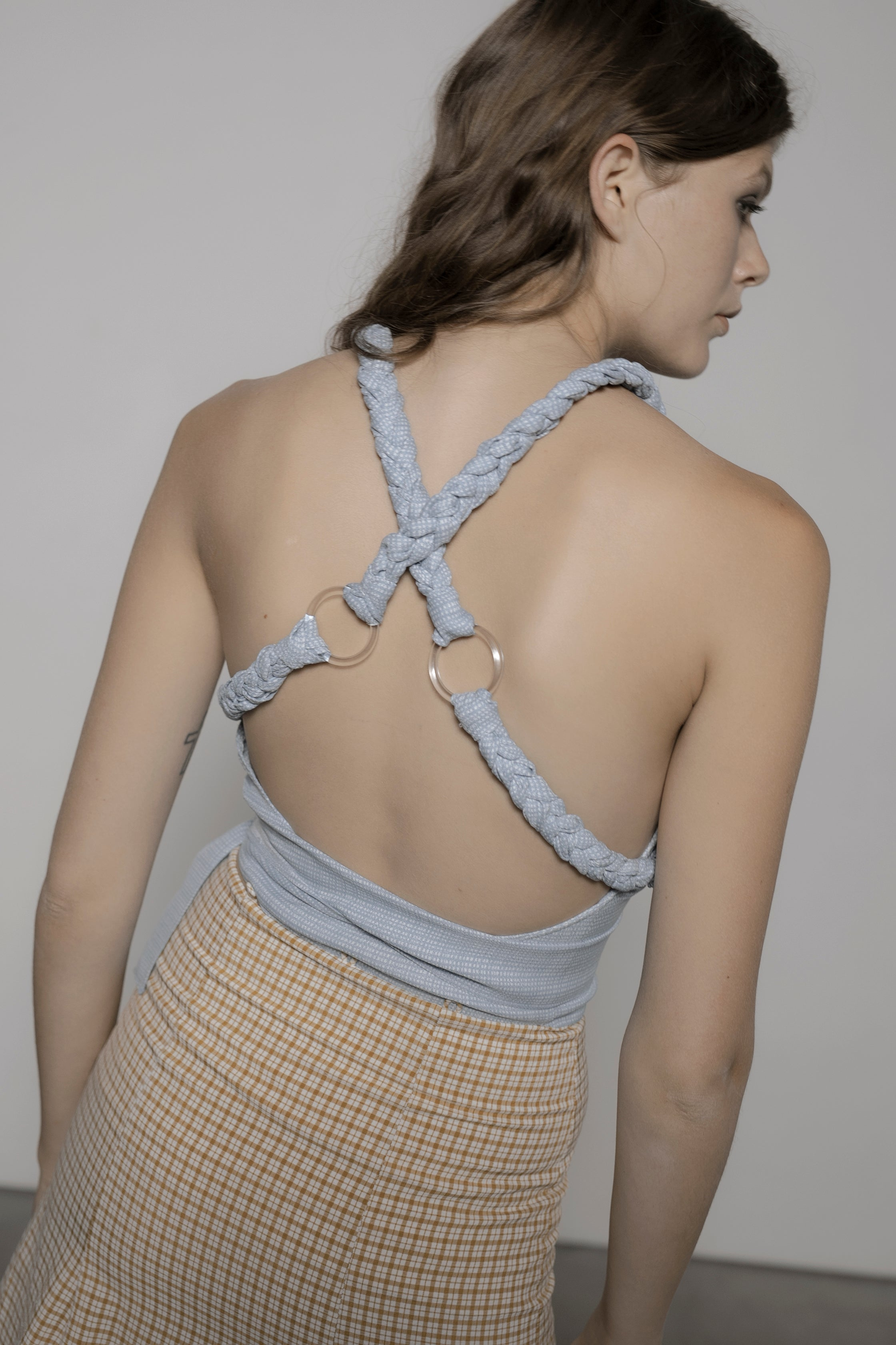 Bianca Braided Strap Top in Blue Grid