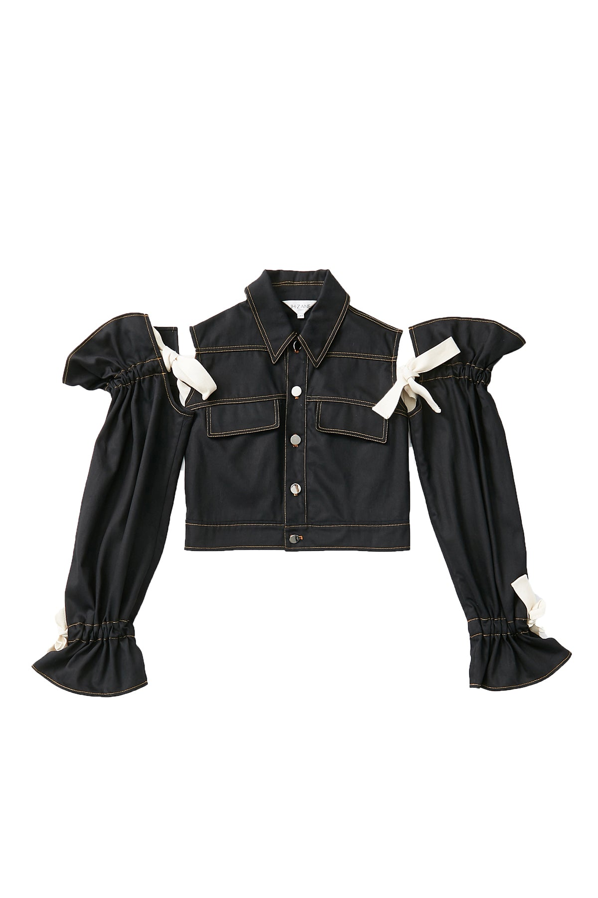 Blossom Sleeve Demin Jacket in Black