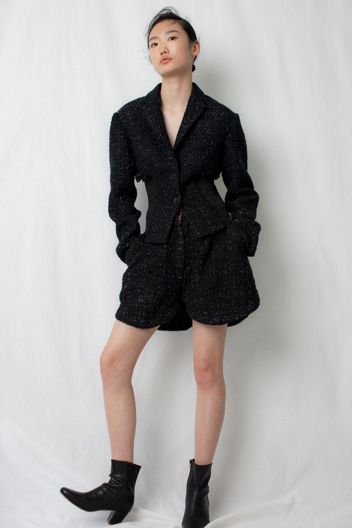 Tulipa Tweed Shorts in Black