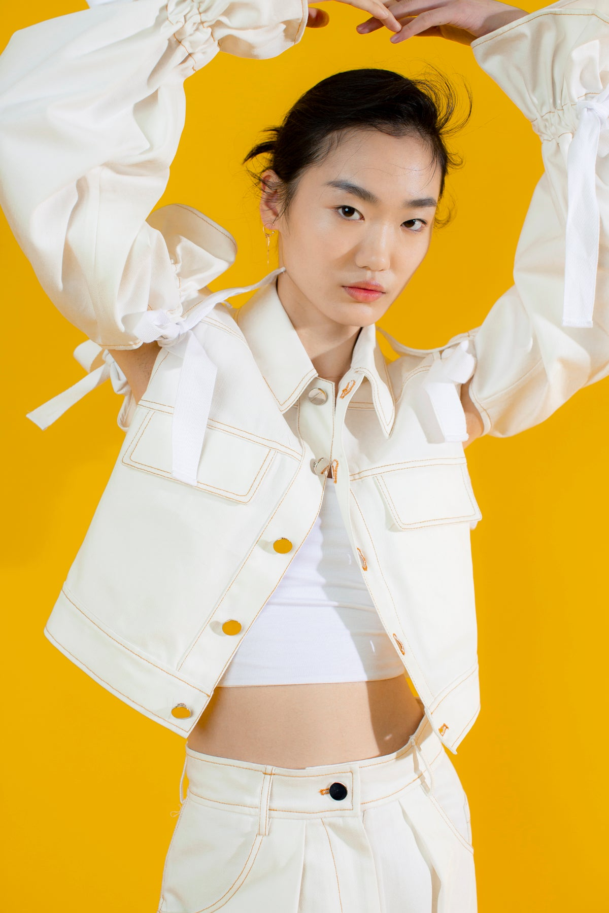 Blossom Sleeves Demin Jacket in White