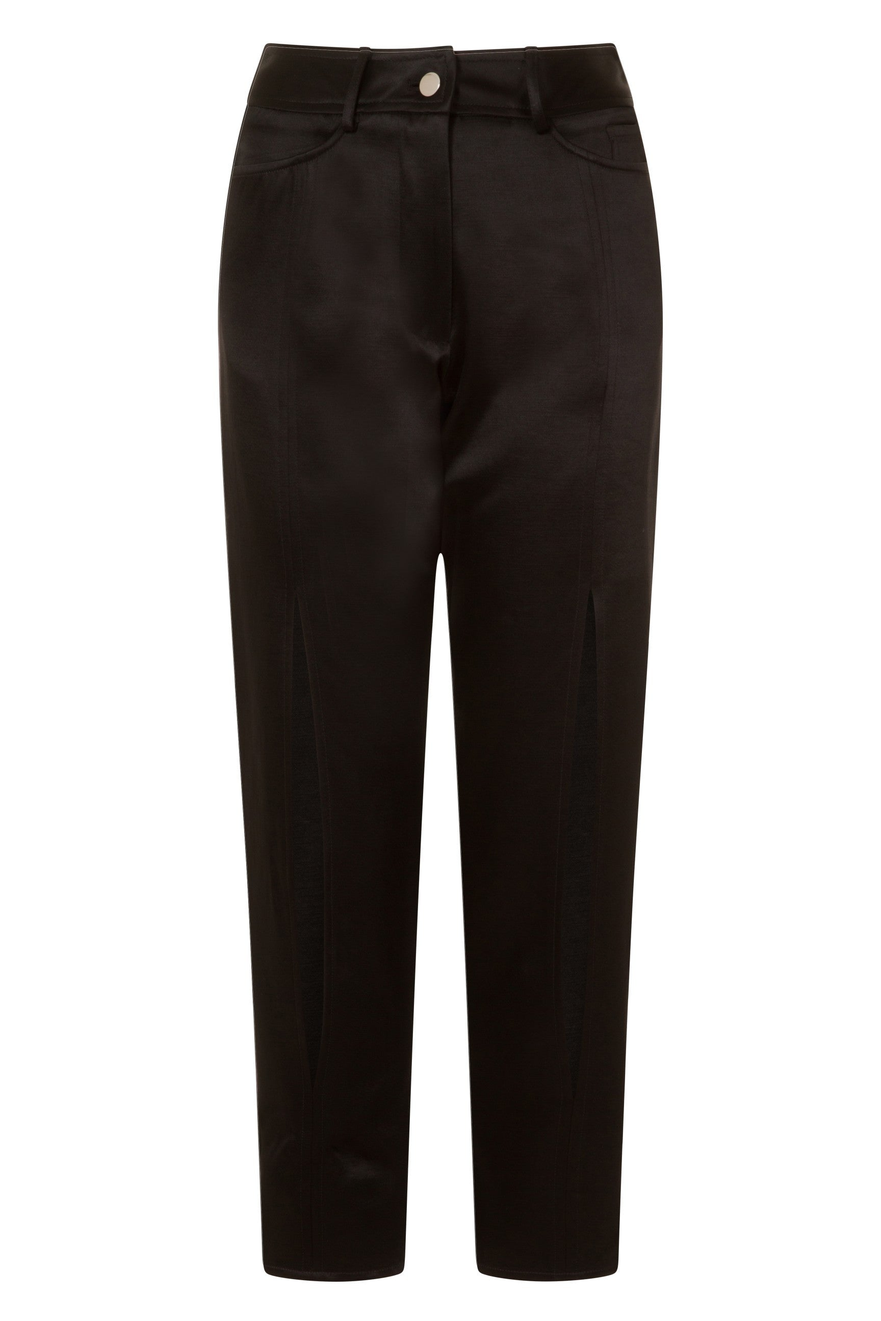 Black Classic Knee Slit Trousers