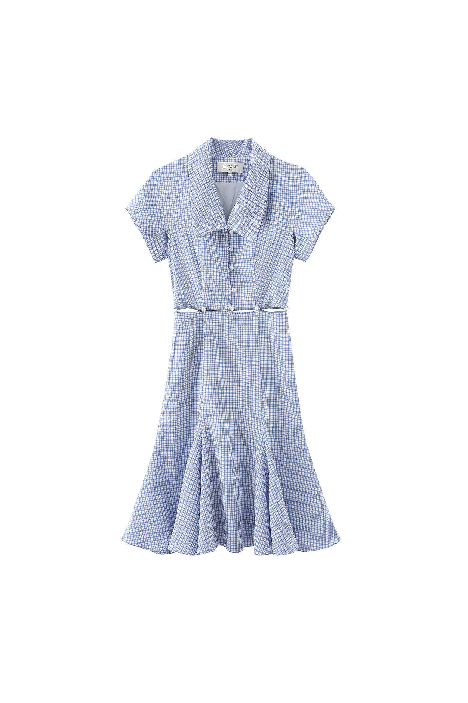 Debbie Detachable Dress in Blue Gingham