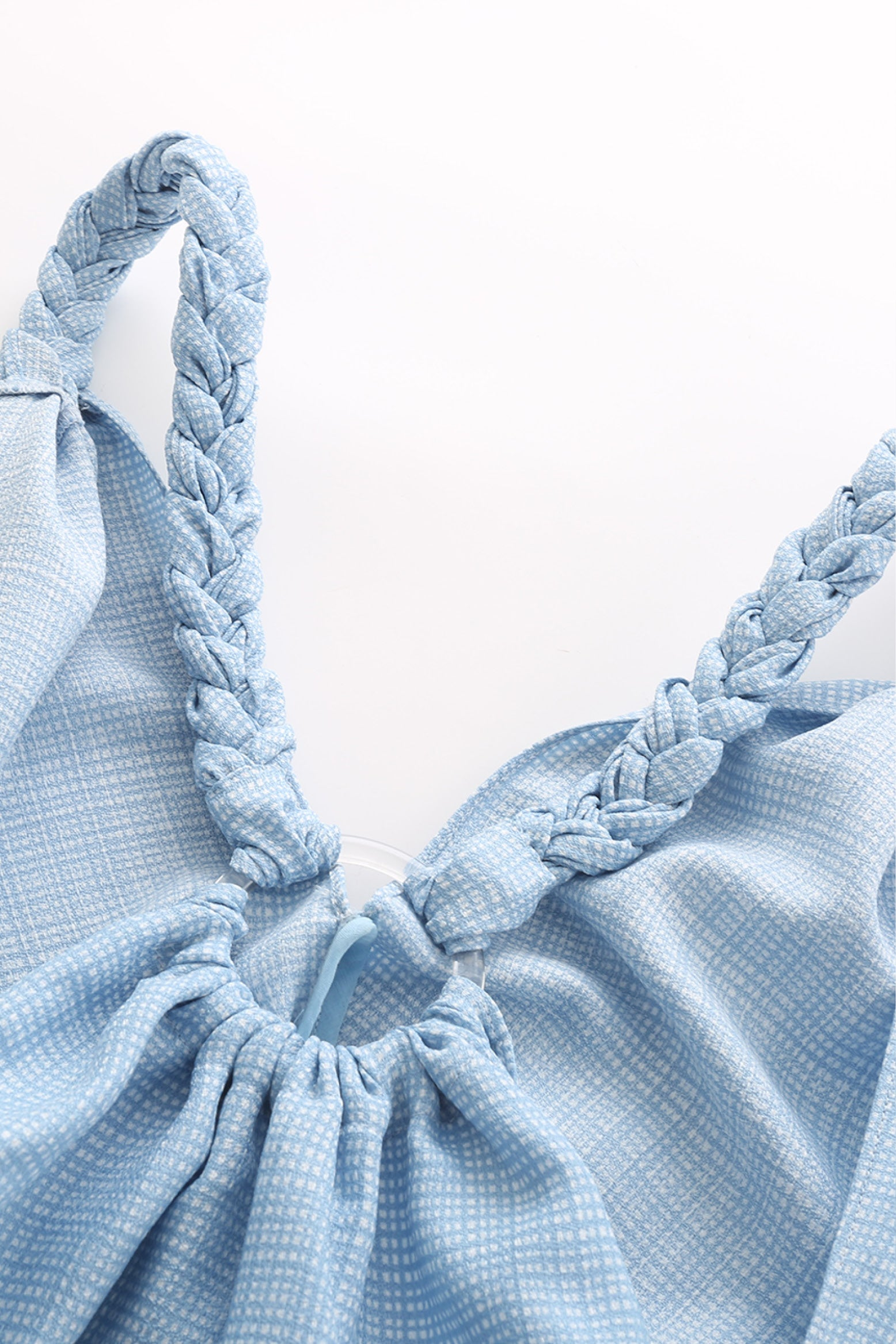 Bianca Braided Strap dress in Blue grid